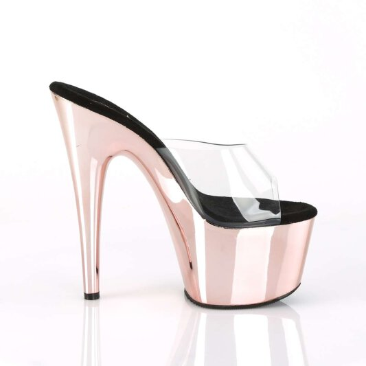 Pleaser Pantolette ADORE-701 Transparent Rose-Gold Chrom