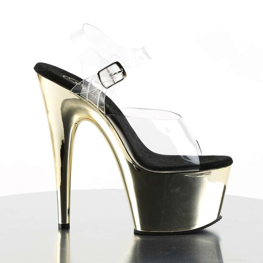 Pleaser Sandalette ADORE-708 Transparent Gold Chrom