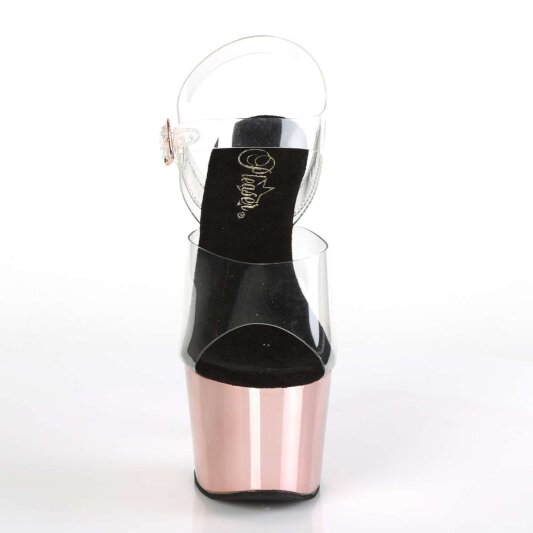 Pleaser Sandalette ADORE-708 Transparent Rose-Gold Chrom