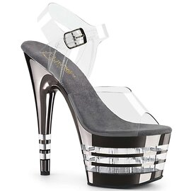 Pleaser ADORE-708CHLN Clear/Pewter Chrome