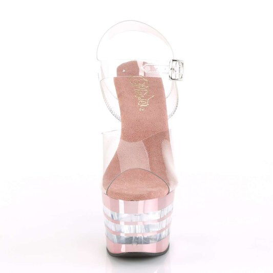 Pleaser Sandalette ADORE-708CHLN Transparent Rose-Gold Chrom