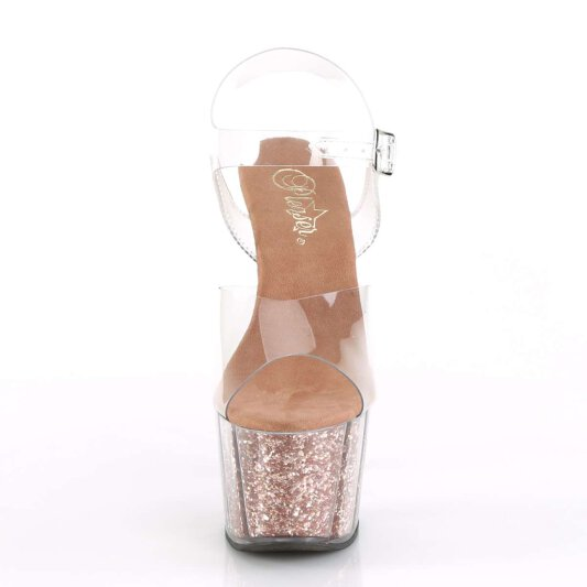 Pleaser Sandalette ADORE-708G Transparent Rose-Gold Glitter