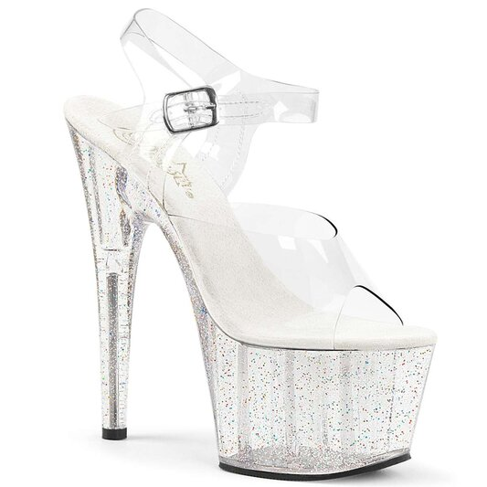 Pleaser Sandalette ADORE-708MG Transparent Silber