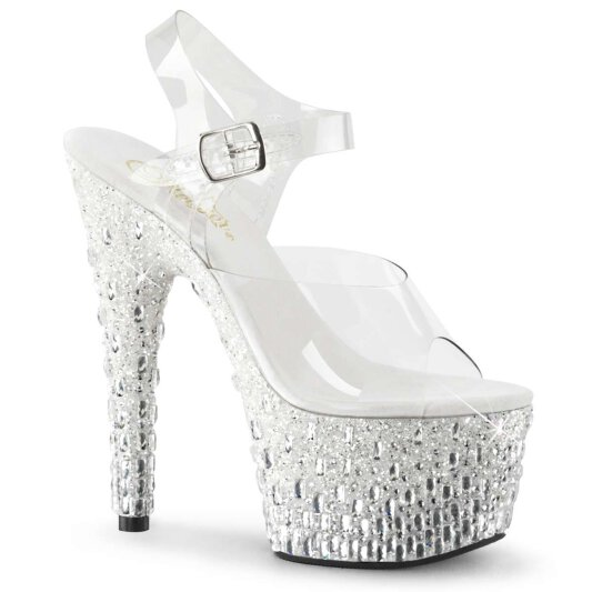 Pleaser Sandalette ADORE-708MR-5 Transparent Weiß-Silber Strass