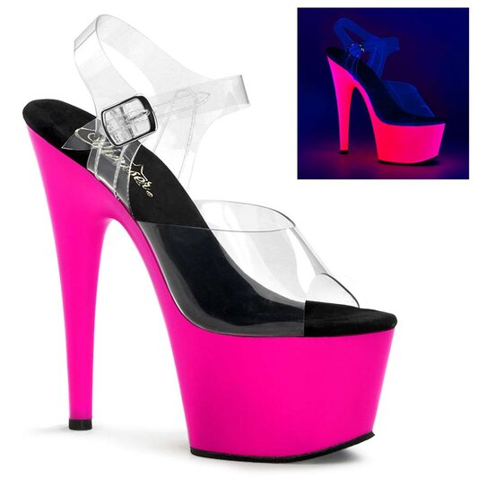 Pleaser Sandalette ADORE-708UV Transparent Neon-Pink