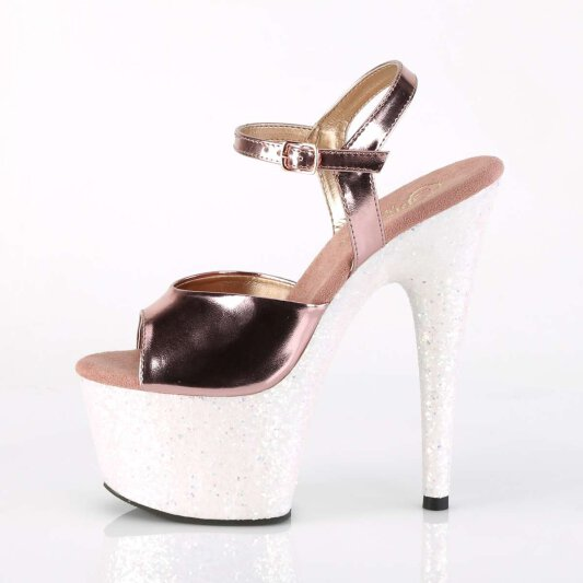 Pleaser Sandalette ADORE-709LG Rose-Gold Metallic Multi Glitter
