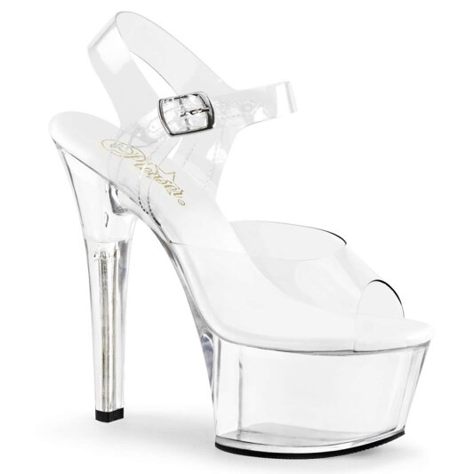 Pleaser Sandalette ASPIRE-608 Transparent Silber
