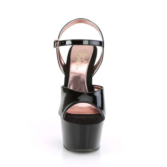 Pleaser Sandalette ASPIRE-609TT Schwarz Rose-Gold Chrom