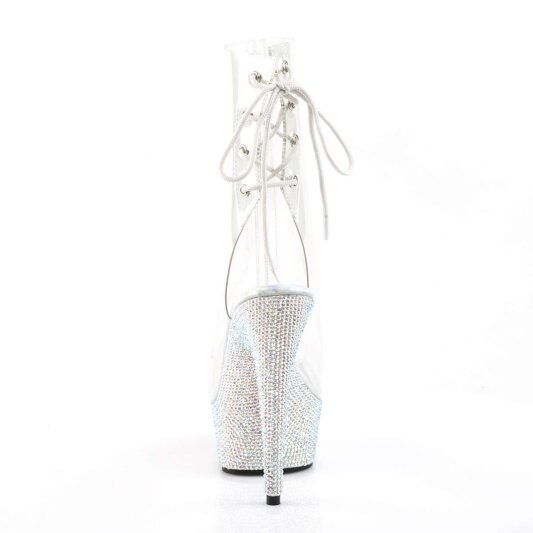 Pleaser Stiefelette BEJEWELED-1018DM-6 Transparent Silber Strass