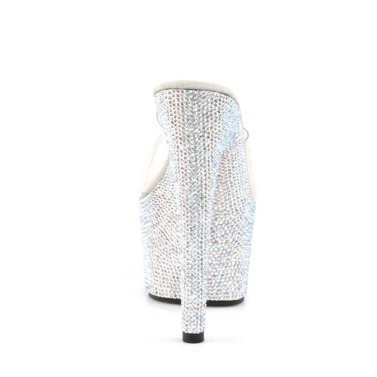 Pleaser Pantolette BEJEWELED-701DM Transparent Silber Strass