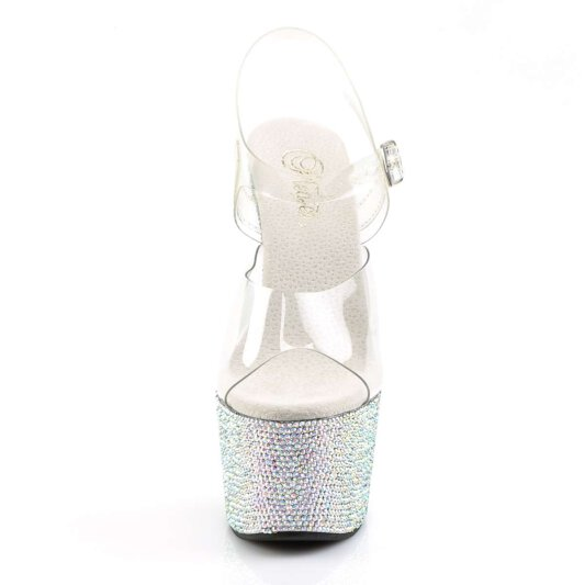 Pleaser Sandalette BEJEWELED-708DM Transparent Silber Strass