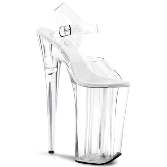 Pleaser Sandalette BEYOND-008 Transparent Silber
