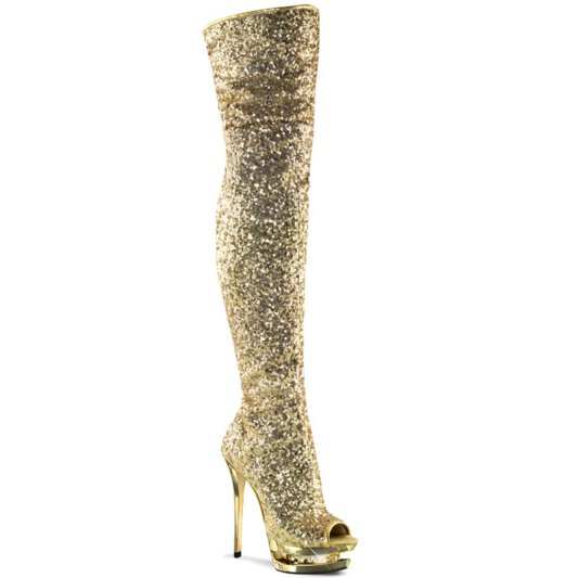 Pleaser Overknee Stiefel BLONDIE-R-3011 Gold Multi Glitter Chrom