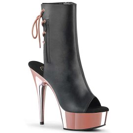 Pleaser Stiefelette DELIGHT-1018 Schwarz Rose-Gold Chrom