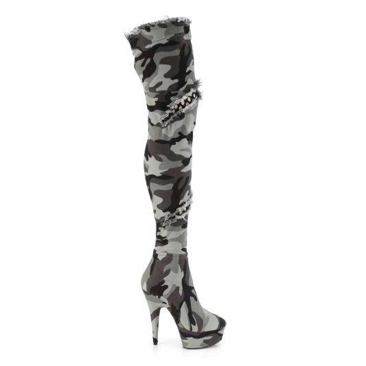 Stiefel Grau Pleaser Overknee 3005 Delight Camouflage OXnwk0NPZ8