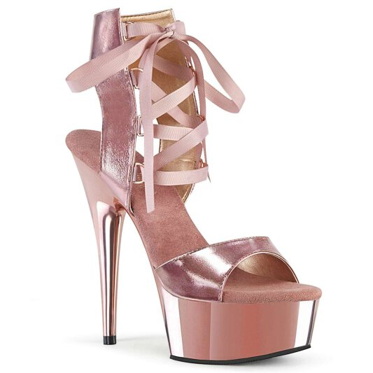 Pleaser Sandalette DELIGHT-600-14 Rose-Gold Metallic Chrom Glitter
