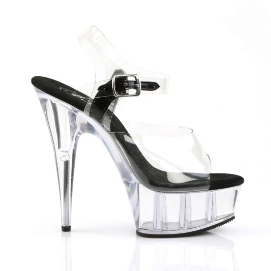 Pleaser Sandalette DELIGHT-608 Transparent Schwarz