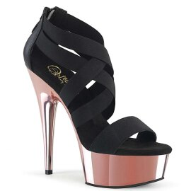 Pleaser Sandalette DELIGHT-669 Schwarz Rose-Gold Chrom