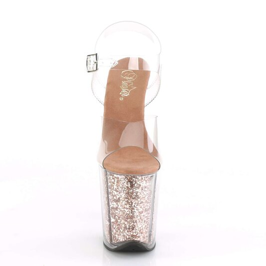 Pleaser FLAMINGO-808G Clear/Rose Gold Glitter