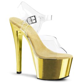 Pleaser Sandalette SKY-308 Transparent Gold Chrom