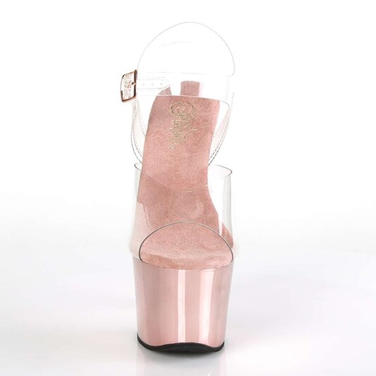 Pleaser Sandalette SKY-308 Transparent Rose-Gold Chrom