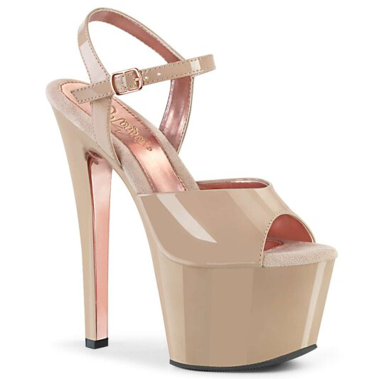 Pleaser Sandalette SKY-309TT Nude Rose-Gold Chrom
