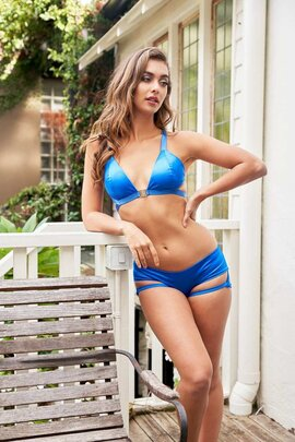Lunalae Shorts Lure You Low Waist Satin Electric Blue S