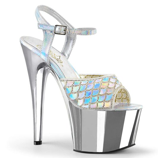 Pleaser Sandalette ADORE-709MMRS Silber Hologram Chrom EU-42,5 / US-12 / UK-9