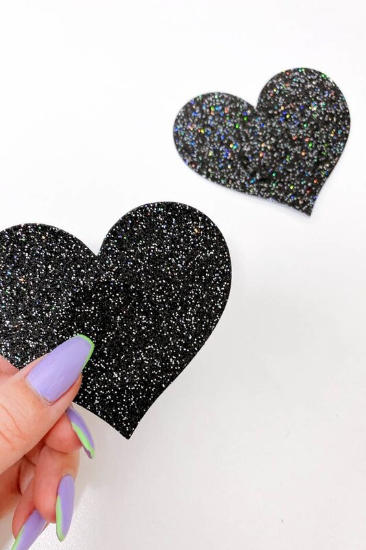 Naughty Thoughts Pasties Nipple Cover Glitter Black Heart  5 Paar
